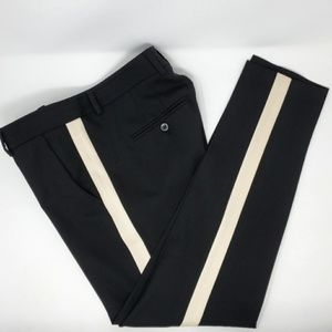 Vince Tuxedo Stipe Trousers Black Tapered Ankle 6